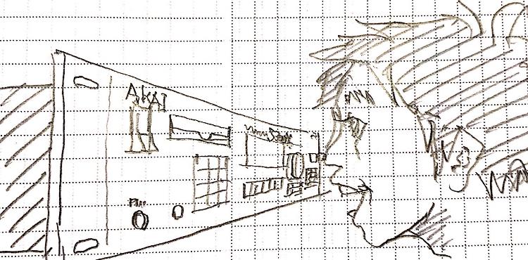 AKAI S3000XLを眺めるイラスト画像