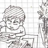 浪人生が日吉大学生はいつのロビーで一心不乱に勉強するイラスト画像