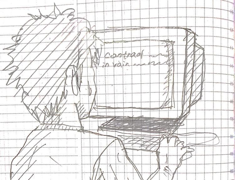 DTMをする男性のイラスト画像
